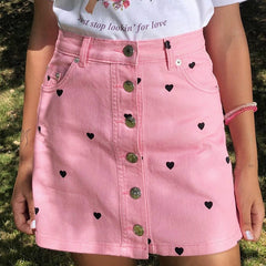 pink denim skirt boogzel apparel