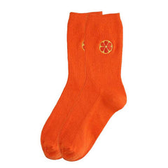 Orange Embroidered Socks