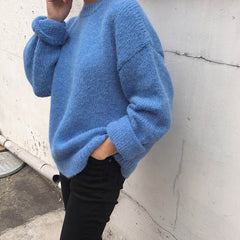 blue oversized sweater