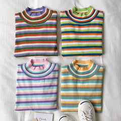 Pastel Striped Turtleneck Jumper