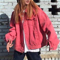 shop pink denim jacket boogzel apparel