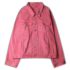 pink denim jacket boogzel apparel