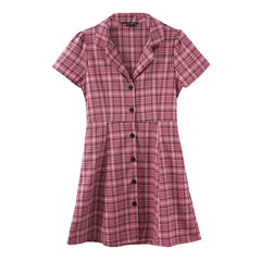 pink plaid dress boogzel apparel