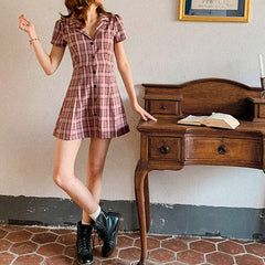 pink plaid collar dress boogzel apparel