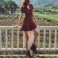 red plaid collar dress boogzel apparel
