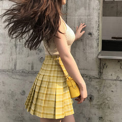 yellow pleated skirt boogzel apparel