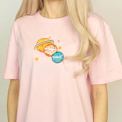 planet embroidery t-shirt boogzel