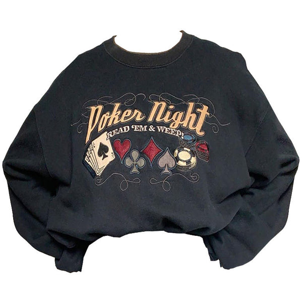 Poker Night Embroidered Sweatshirt