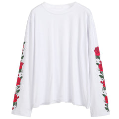 Rose Long Sleeve T-Shirt white buy boogzel apparel flower floral