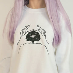 hands space sweatshirt boogzel apparel