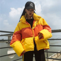 aesthetic coat, tumblr coat, puffa jacket, yellow jacket