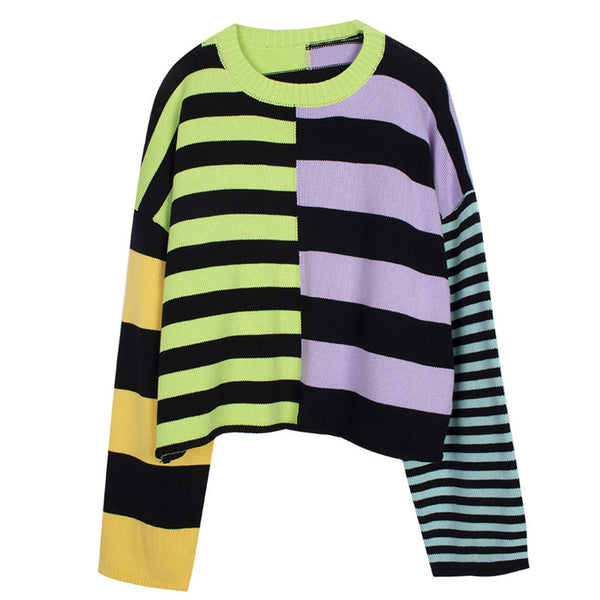 Damage Striped Knit