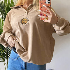 Sun Embroidery Button Up Sweatshirt boogzel apparel