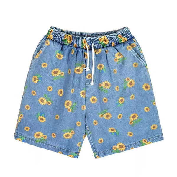 Sunflowers Denim Shorts