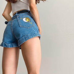 sun moon embroidered shorts boogzel apparelsun moon embroidered shorts boogzel apparel