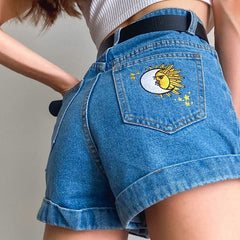 sun moon embroidered shorts boogzel apparel