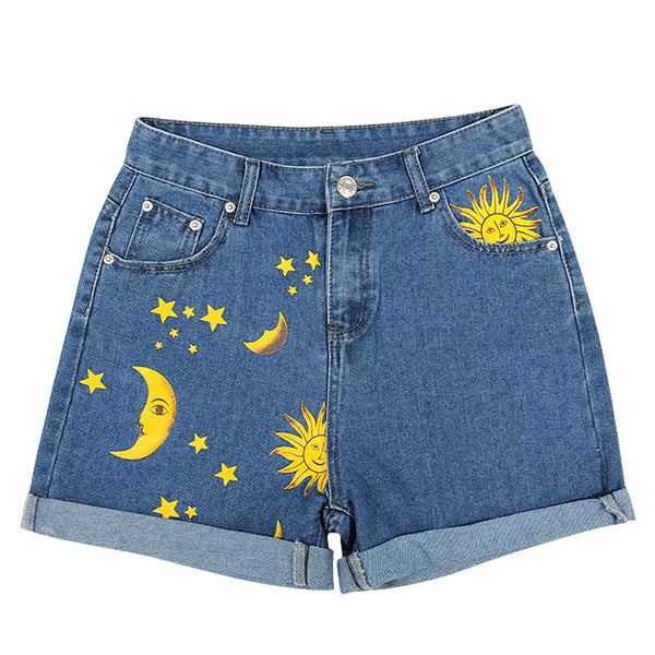 Sun and Moon Print Shorts