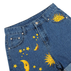 sun moon aesthetic shorts boogzel apparel
