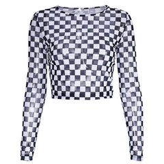 Checkered Long Sleeve Crop Top transparent boogzel apparel