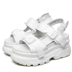 white platform buckle sandals shop boogzel apparel