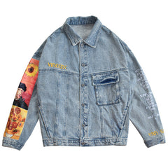 van gogh sunflowers denim jacket boogzel apparel