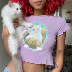 Kitty Love Baby Tee pastel aesthetic outfit