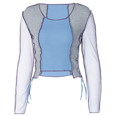 Y2K Sky Blue Ribbed Top boogzel apparel
