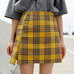 Plaid Check Mini Skirt yellow