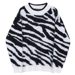 Zebra Print Knit Sweater