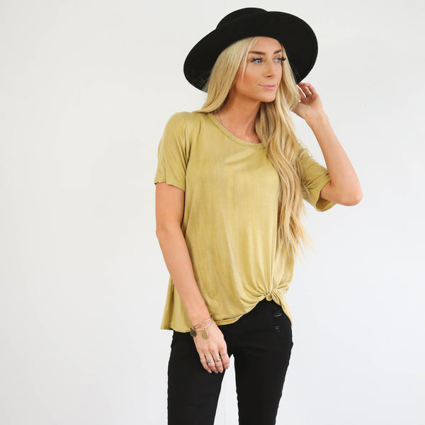 Yellow Washed Knot Tee