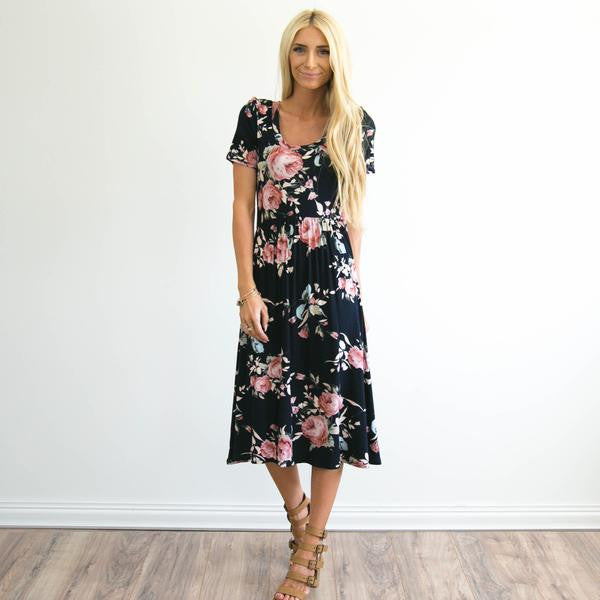 Nadia Floral Dress in Navy