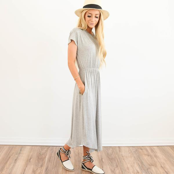 Brin Midi Dress in Heather Grey