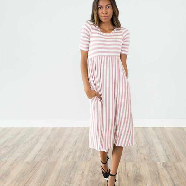 Mauve Stripe Midi Dress