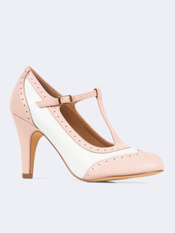 Strap Round Toe Retro Oxford Pumps
