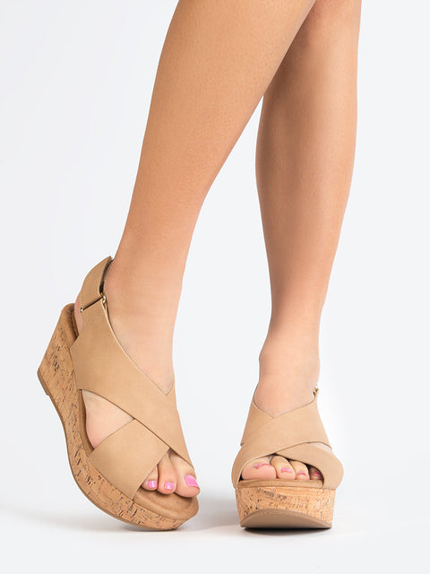 Cross Band Peep Toe Wedge