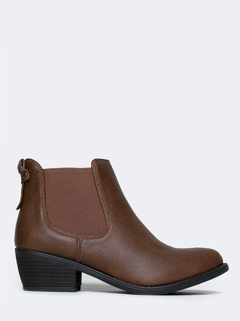 Elastic Side Panel Ankle Boots
