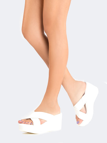 Cross Band Platform Sandals