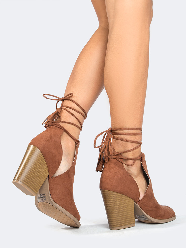 Peep Toe Lace Up Sandal