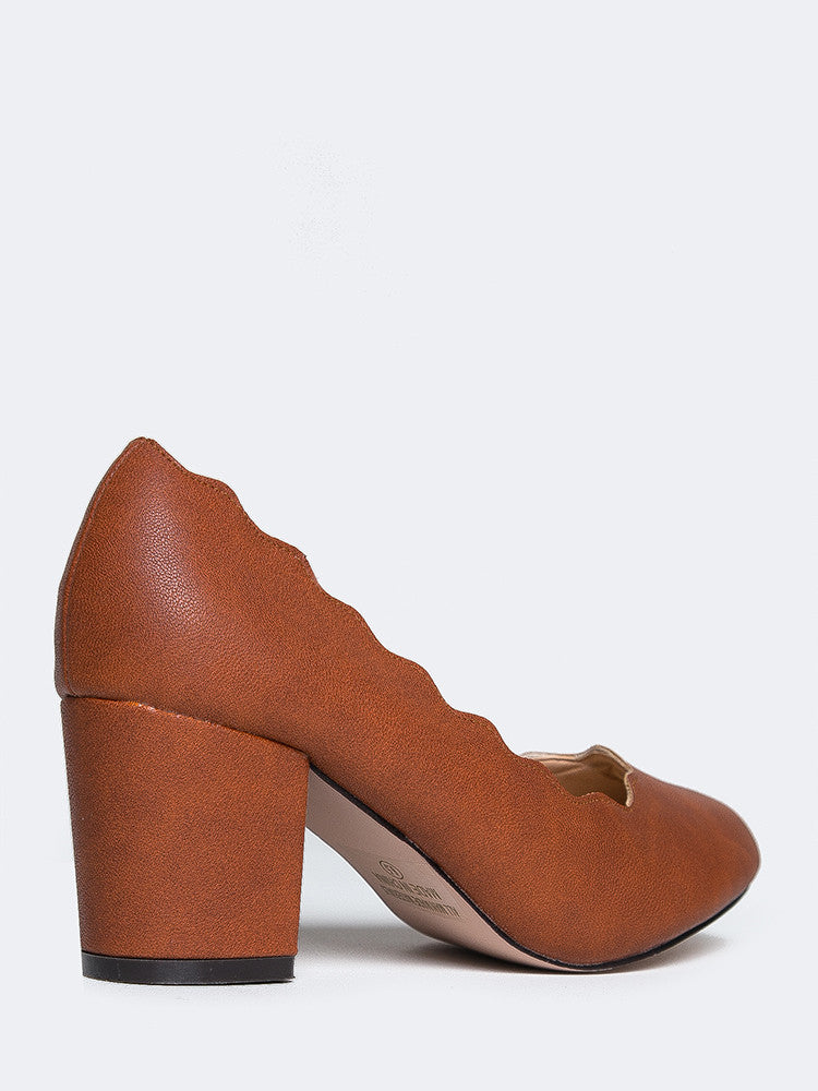 Scalloped Block Heel Pumps