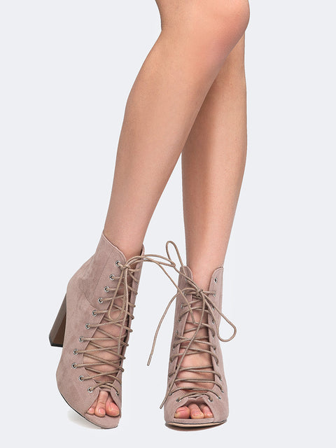 Lace Up Peep Toe