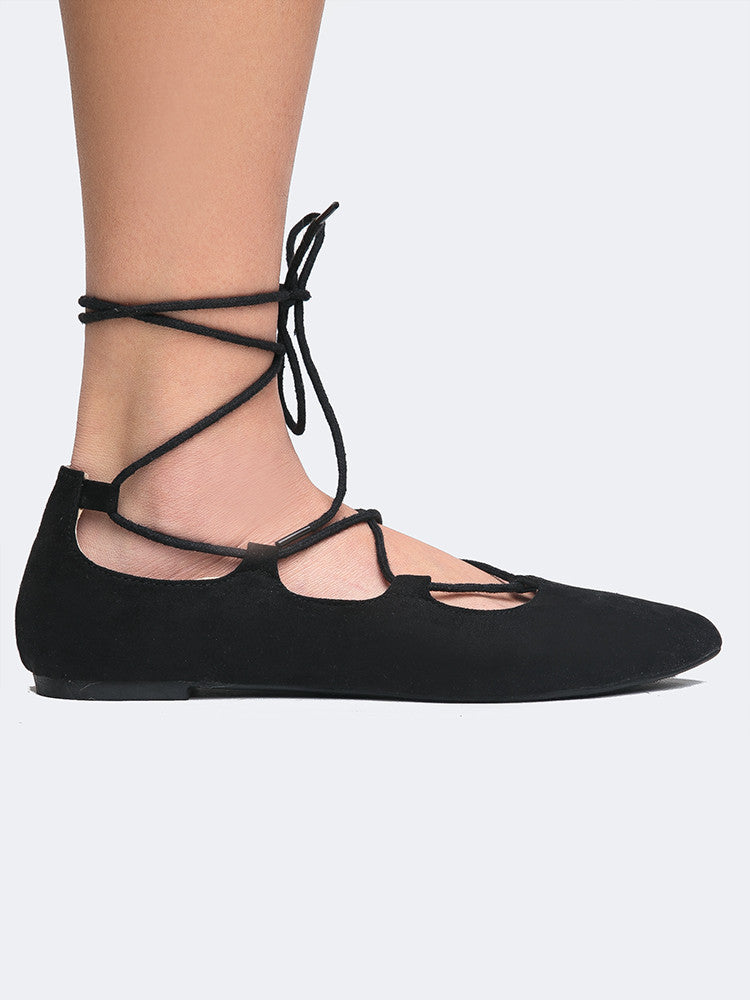 Lace Up Pointed Toe Flats