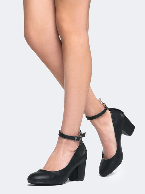 Ankle Strap Round Toe Heel