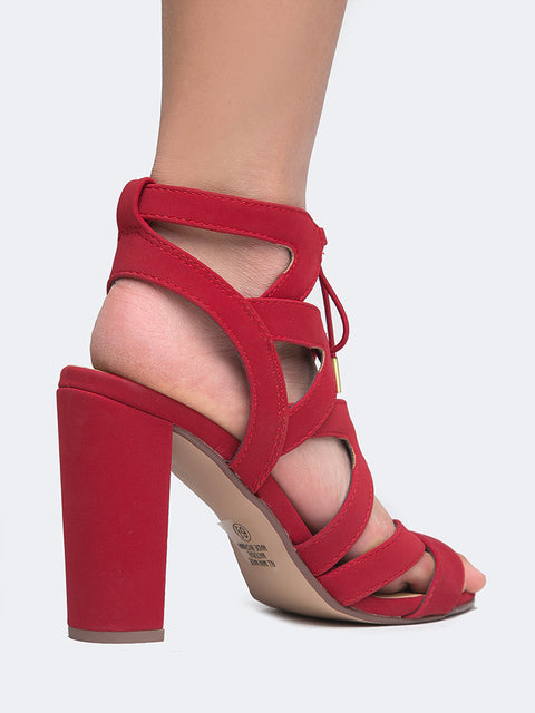 Tie Up Cutout Sandal Heels