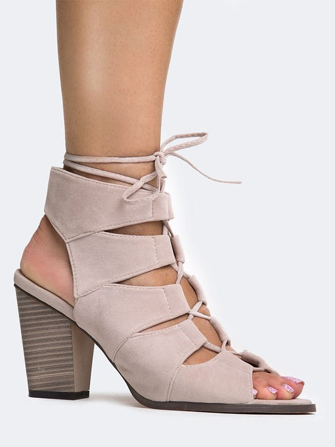 Cut Out Lace Up Heel