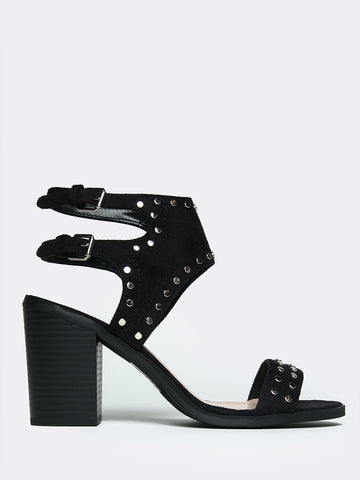 Studded Open Toe Heel