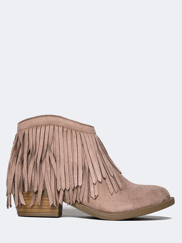 Low Fringe Ankle Bootie