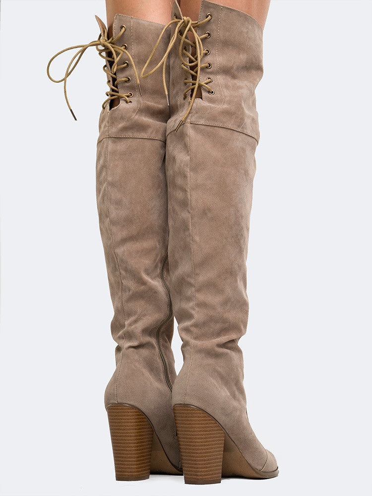 Back Tie Over The Knee Boot
