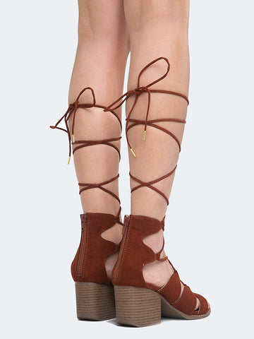 Block Heel Lace Up Sandal