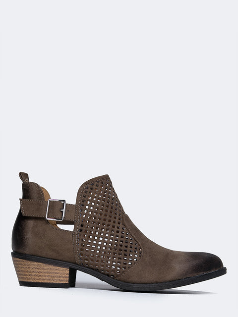 Perforated Western Low Bootie