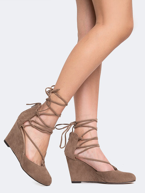Lace Up Low Wedge Heel
